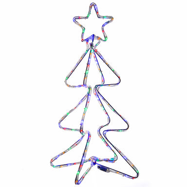 3D Pre-Lit Christmas Tree Rope Light Silhouette, 80 cm - Multi-Colour