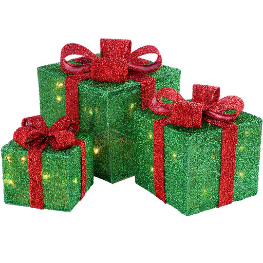 Gift Box Silhouette with 35 Warm White LED Lights and Tinsel - Green, Set of 3