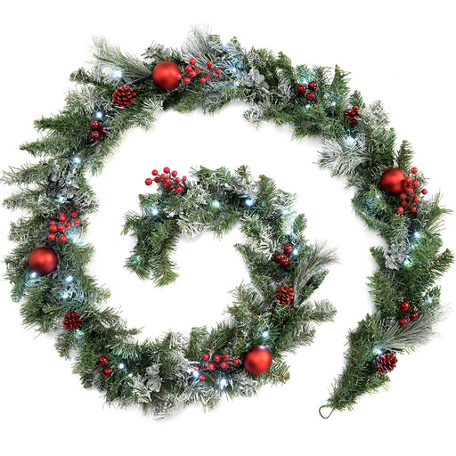 Decorated Pre-Lit Garland Christmas Decoration with 40 White LED Lights 9 ft - Frosted