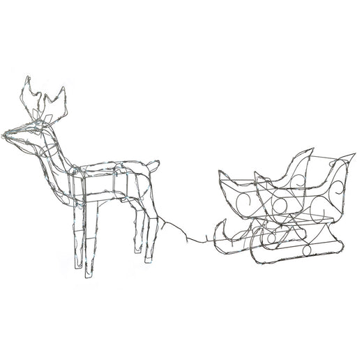 Pre-Lit Animated Multi Function Reindeer and Sleigh Silhouette, 80 cm - Bright White