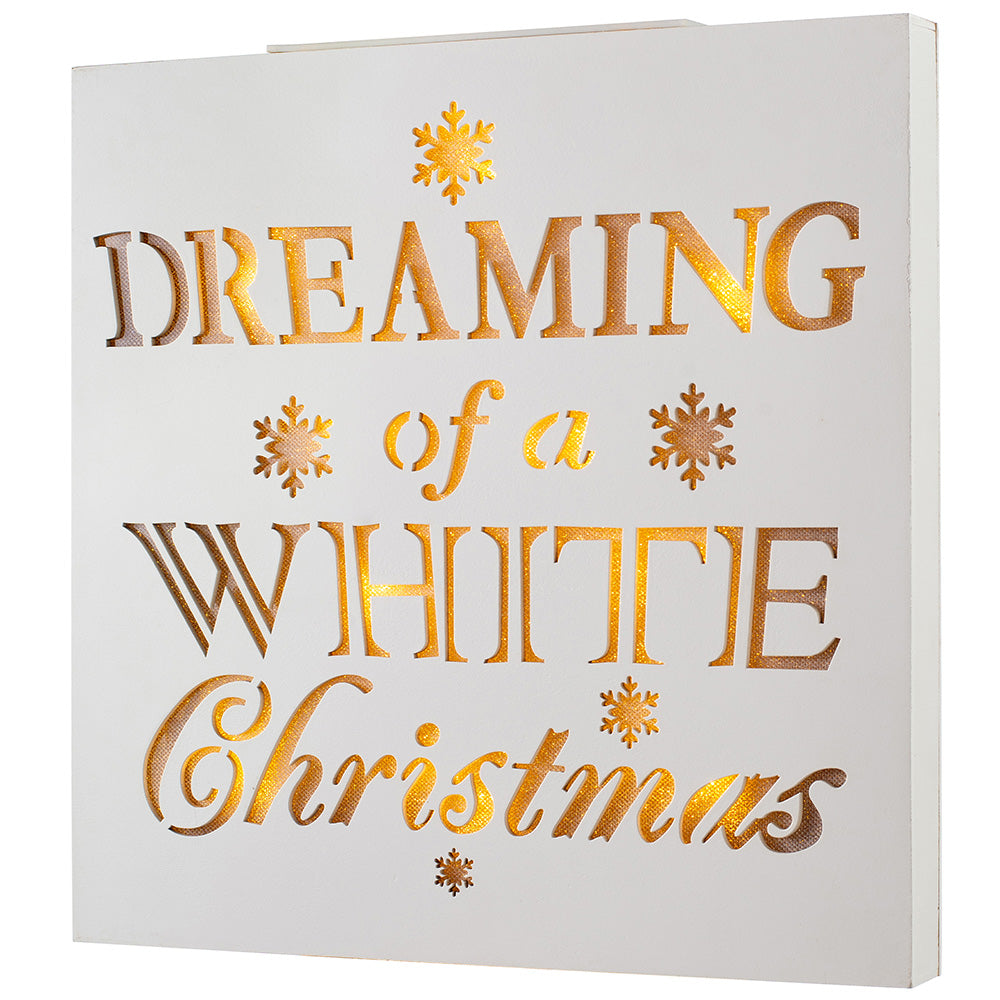 Dreaming of a White Christmas Wooden Sign with 10  Warm LED Lights 44 cm