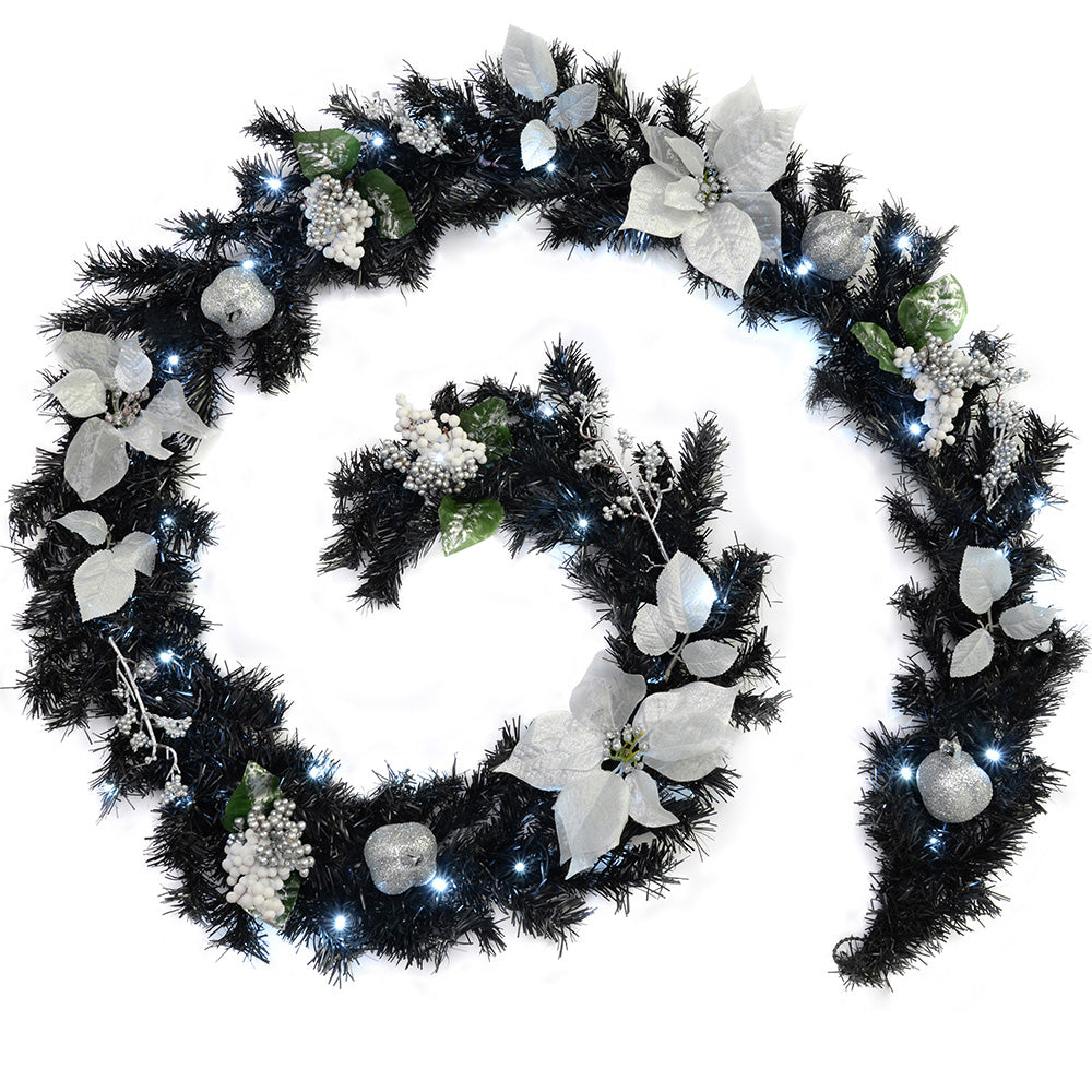 Decorated Pre-Lit Garland Illuminated with 40 Cool White LED Lights, 9 ft - Black/Silver