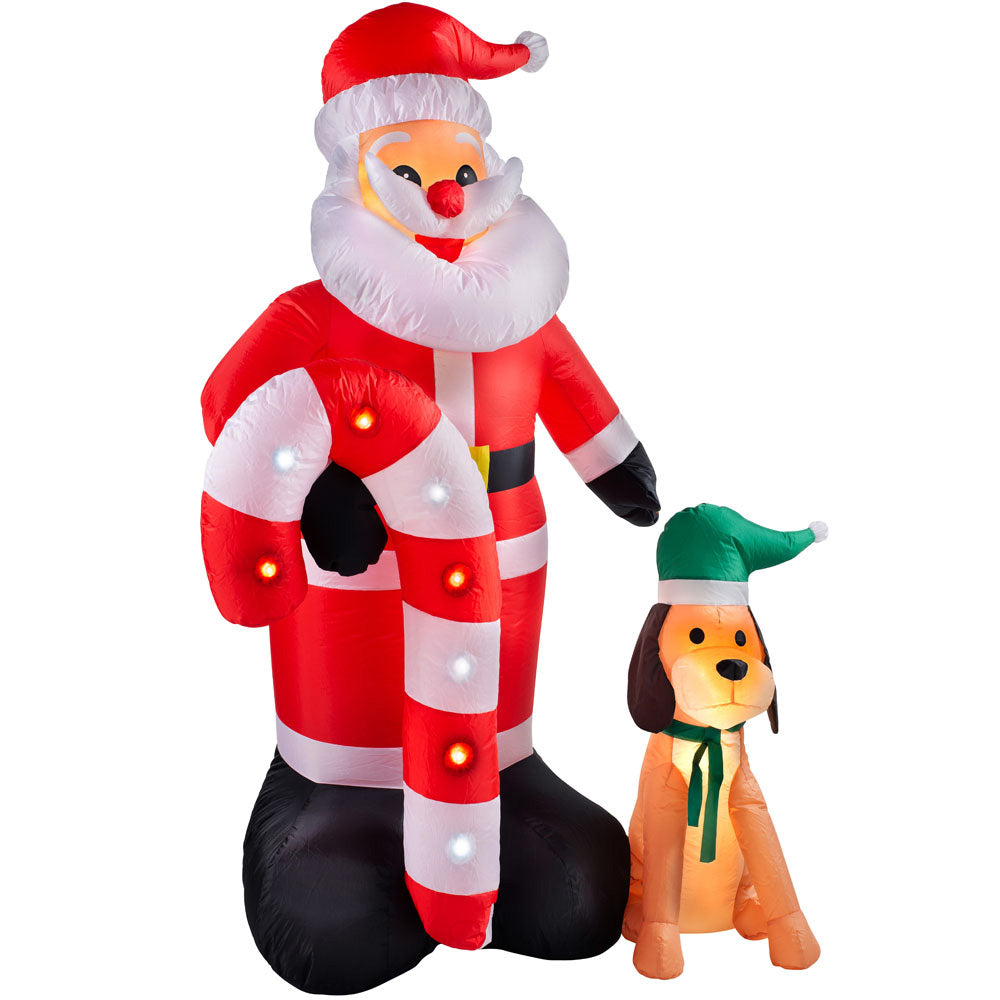 Pre-Lit Flashing Inflatable Santa with Candy Cane & Dog Multi-Colour 6 ft / 1.8 m