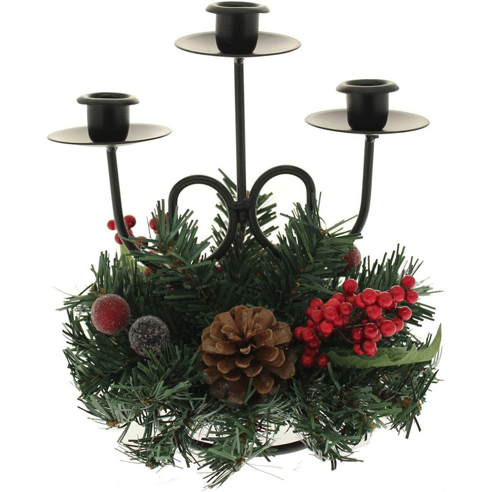 Natural Pinecone and Berry Table Centre Piece with Single Pillar Candle Holder Christmas Decoration