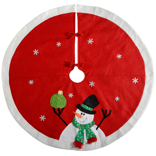 Snowman Christmas Tree Skirt Decoration, 122 cm - Large, Red/White
