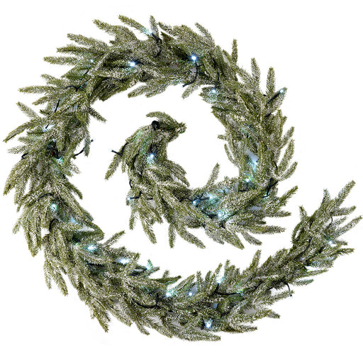 Frosted Pre-Lit Fir Garland Illuminated with 40 White LED Lights, 9 ft - Silver