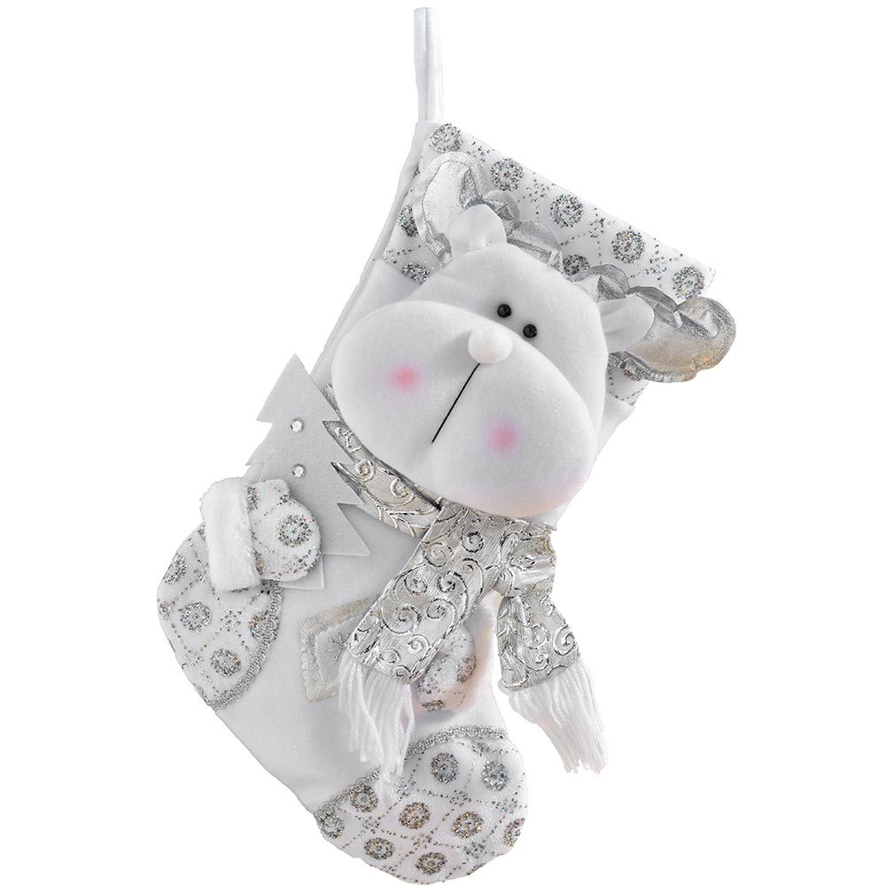 Christmas Stocking, White and Silver, 48 cm