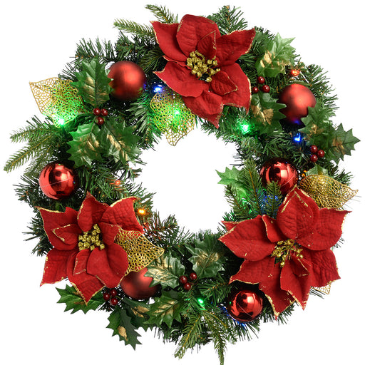 Pre-Lit Decorated Wreath Illuminated with 20 Multi-Colour LED Lights, 60 cm - Red/Gold