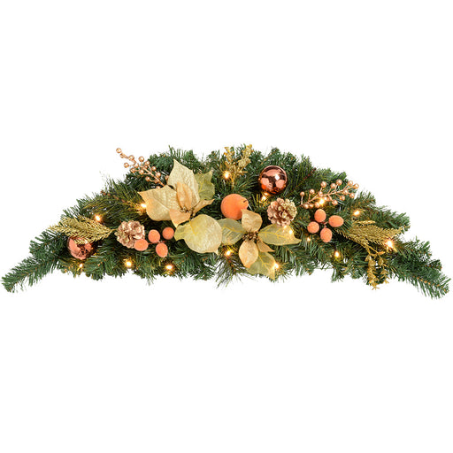 Pre-Lit Decorated Arch Garland Illuminated with 20 Warm LED Lights, 90 cm - Copper/Gold