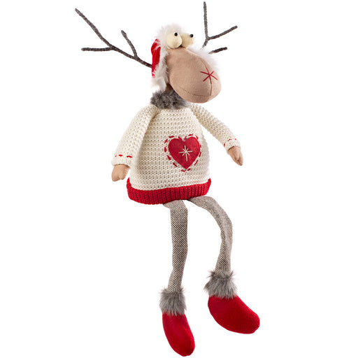 Sitting Christmas Reindeer Figurine with Soft Legs 48 cm