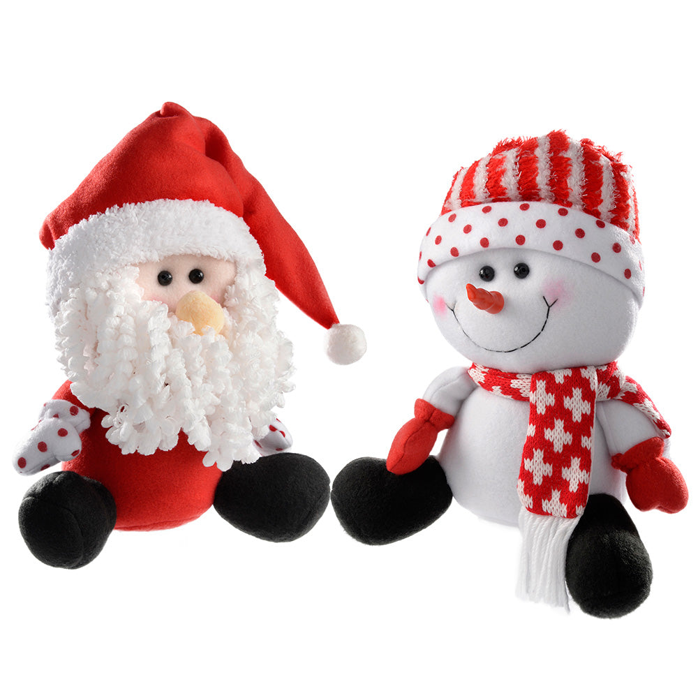 Sitting Santa and Snowman Christmas Decoration, 25 cm - Red/White, Set of 2