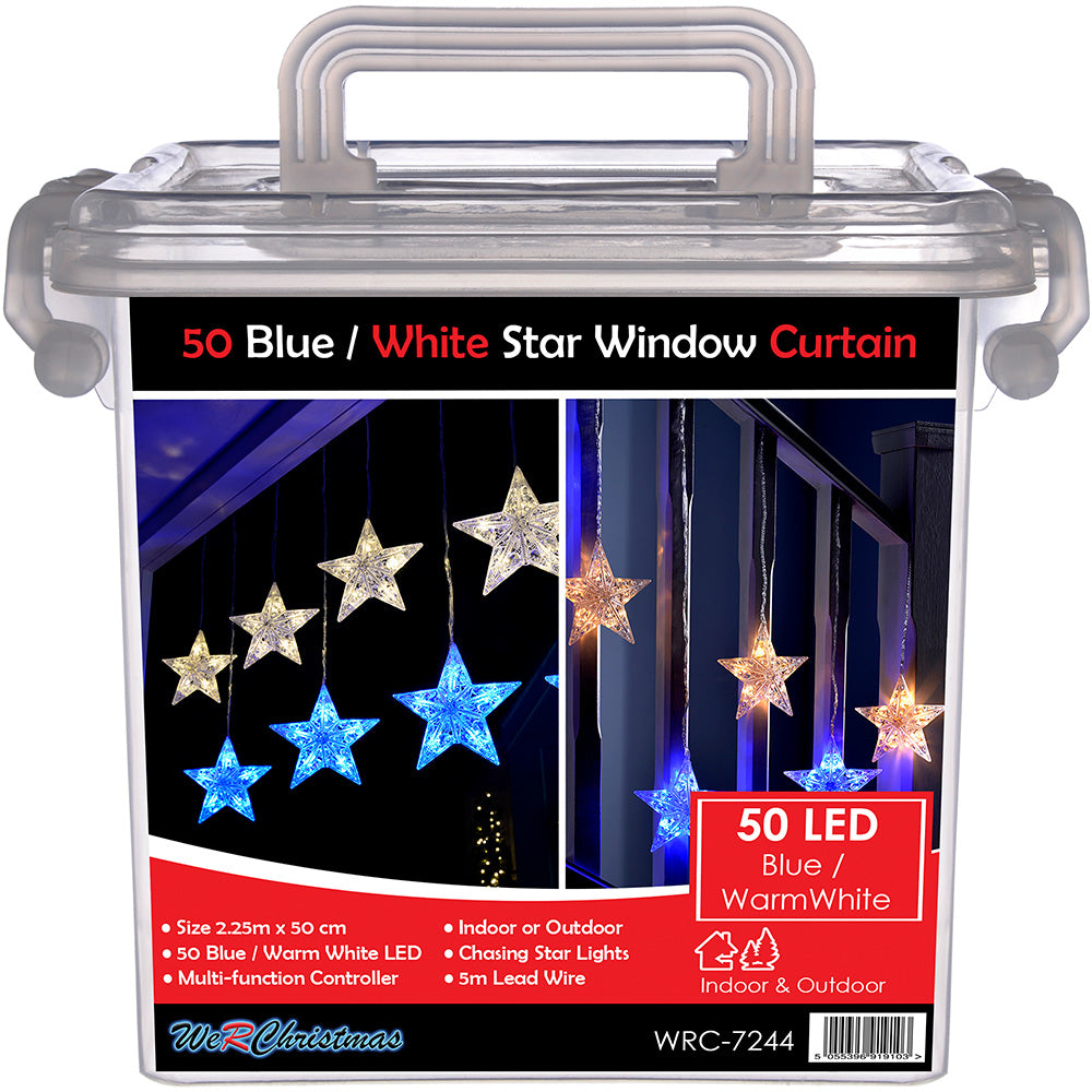 Star Flashing Window Curtain Net Christmas Lights with 50-LEDs - Blue and Warm White