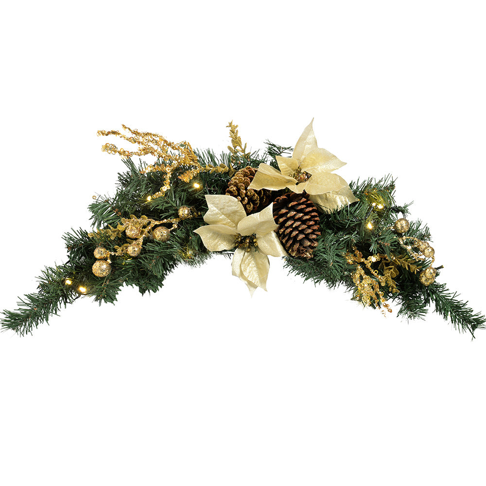 Decorated Pre-Lit Arch Garland Illuminated with 20 Warm White LED Lights In Gold/Cream