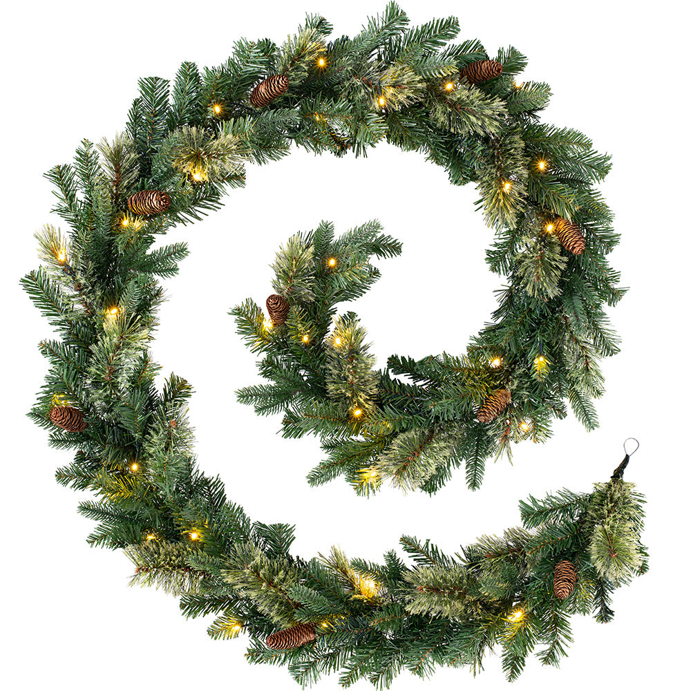Pre-Lit Natural Pine Christmas Garland with 40 Warm White LED Lights 9 ft / 2.7 m