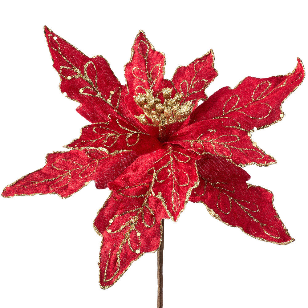 Artificial Poinsettia Christmas Tree Flower Decoration, Red, 30 cm