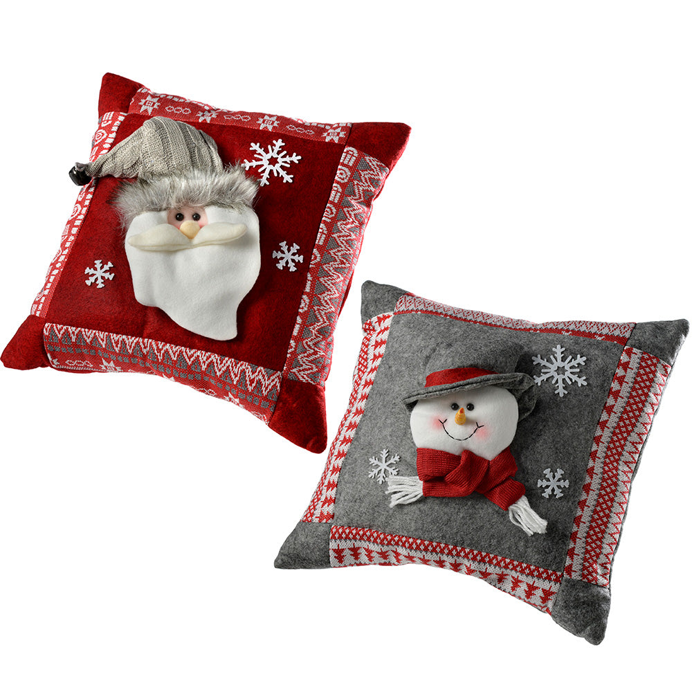 Santa & Snowman Christmas Cushion Decoration, Grey/Red, 35.5 cm, Set of 2