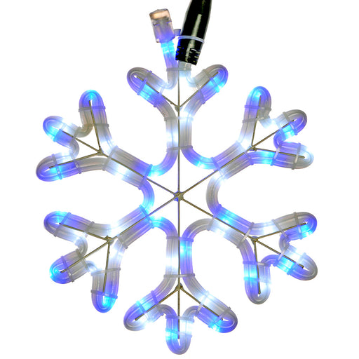 Pre-Lit LED Snowflake Rope Light Silhouette, 26 cm - Blue and White