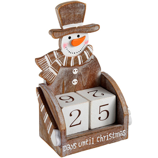 Wooden Snowman Advent Calendar Christmas Decoration, Wood, 16 cm