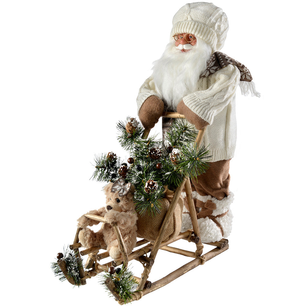 Santa and Sleigh Christmas Decoration, 50 cm - White/Brown