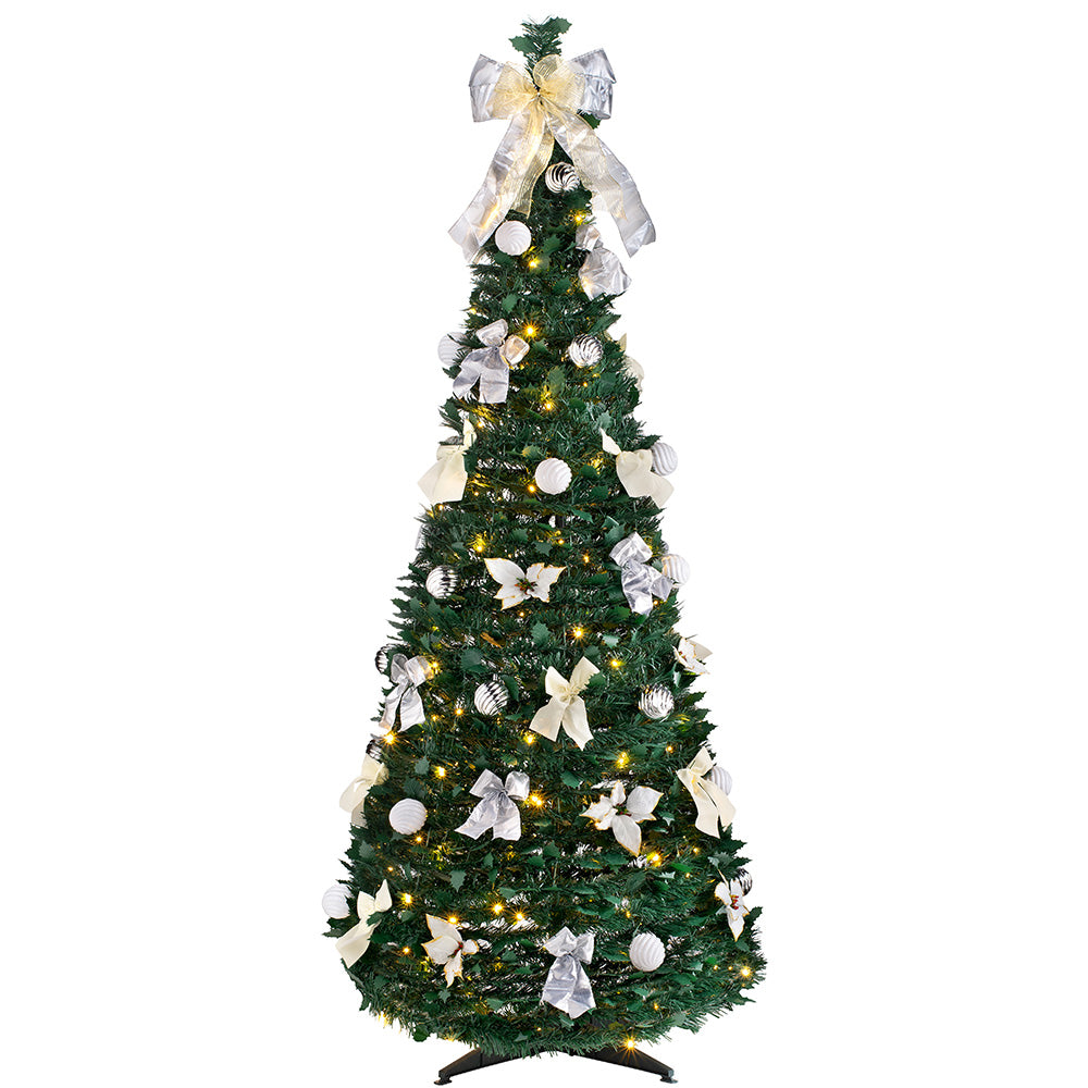 Pre-Lit Pop Up Decorated Christmas Tree with 150 Warm ...