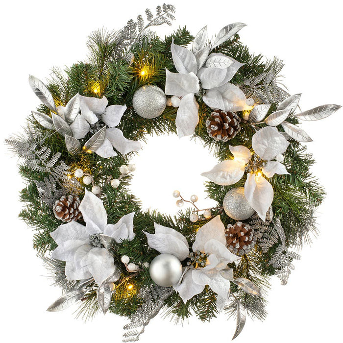 Pre-Lit Decorated Christmas Wreath with 20 Warm White LED Lights 61 cm / 24 inch