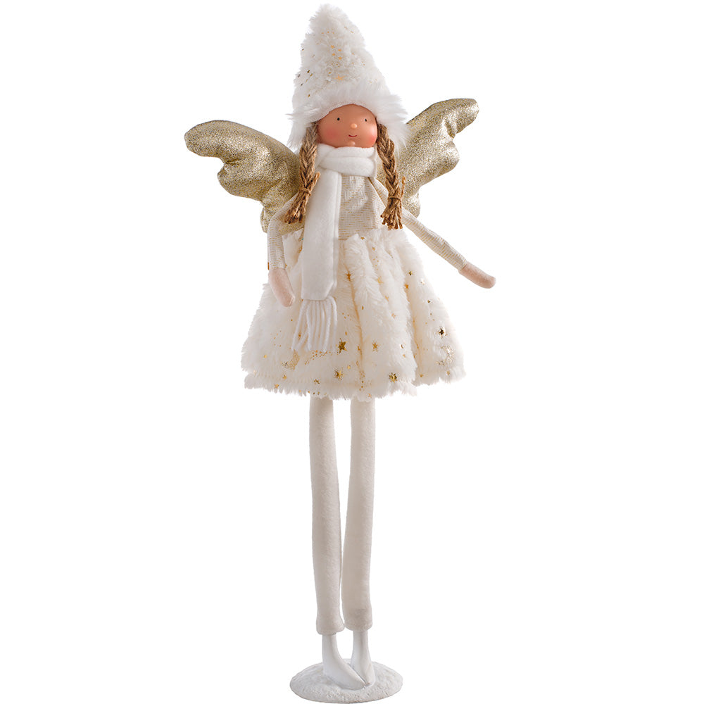 Standing Christmas Angel Decoration, Cream and Gold, 55 cm