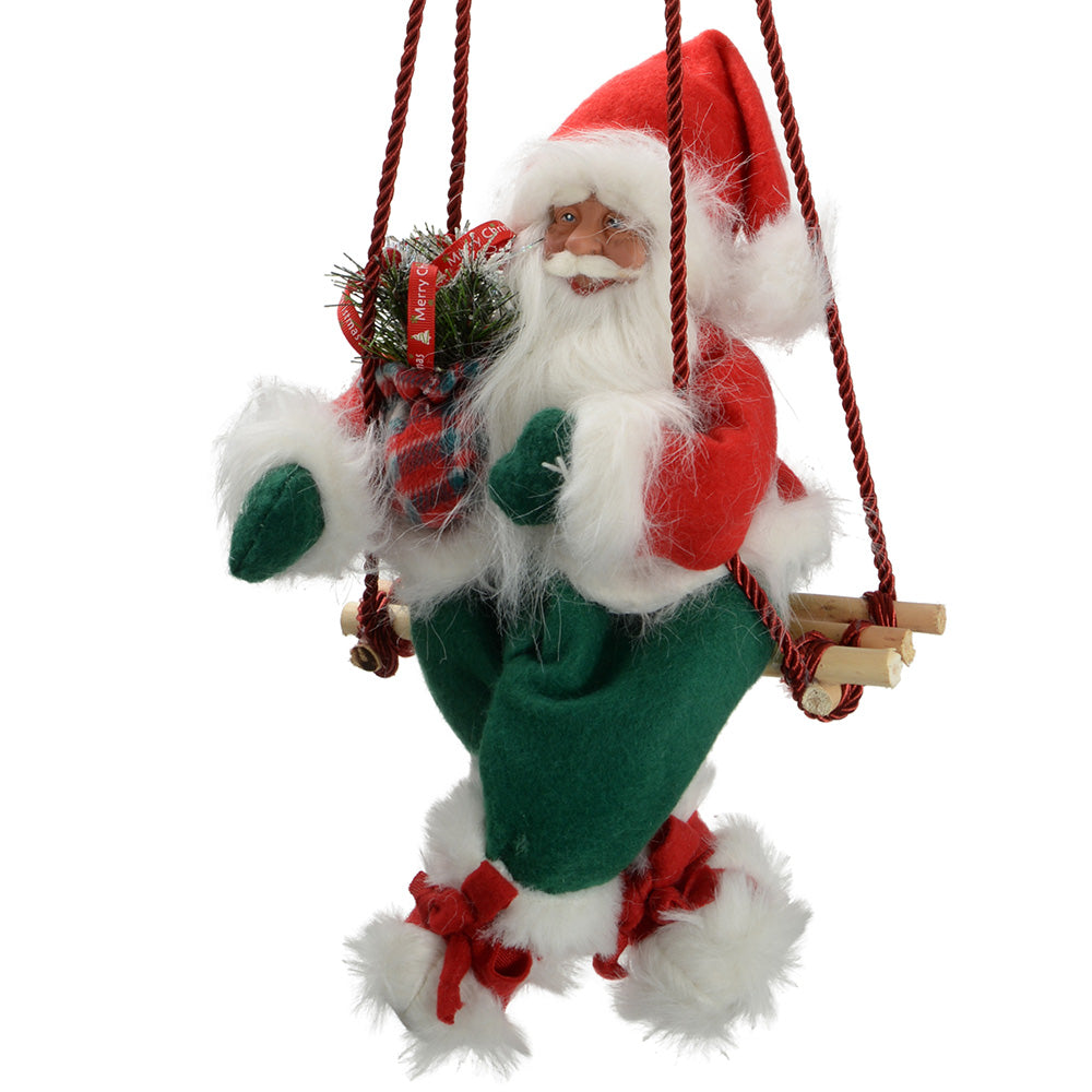35 cm Large Swinging Santa Christmas Decoration, Red/ Green
