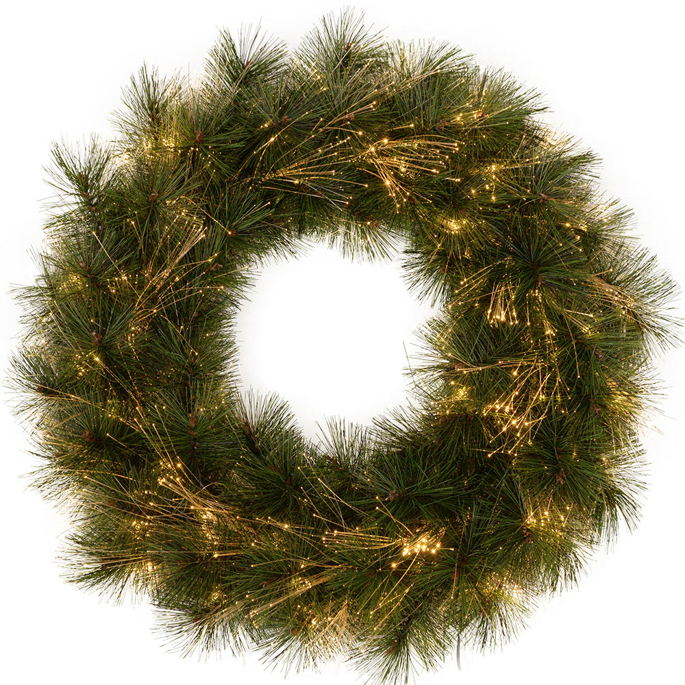 60 cm Pre-Lit Pine Needle Wreath Illuminated with Fibre Optic Lights