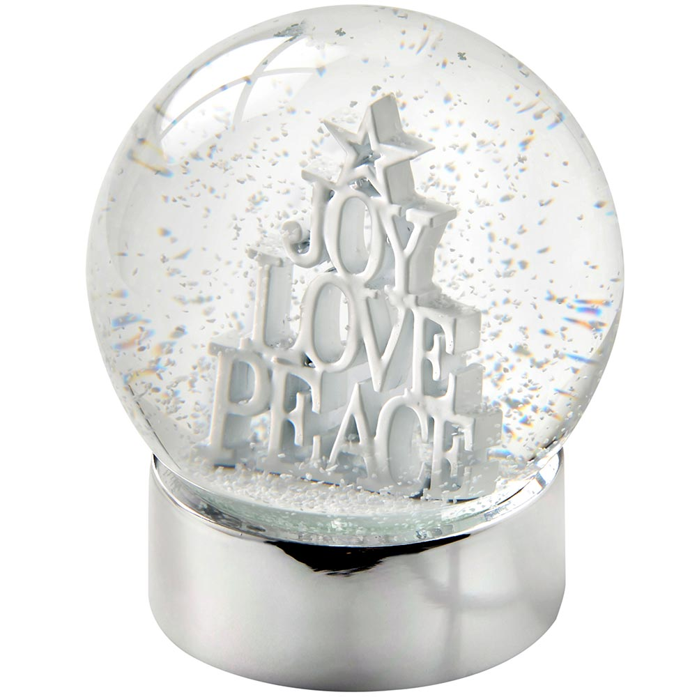 Joy Love Peace Snow Globe Christmas Decoration, 12 cm