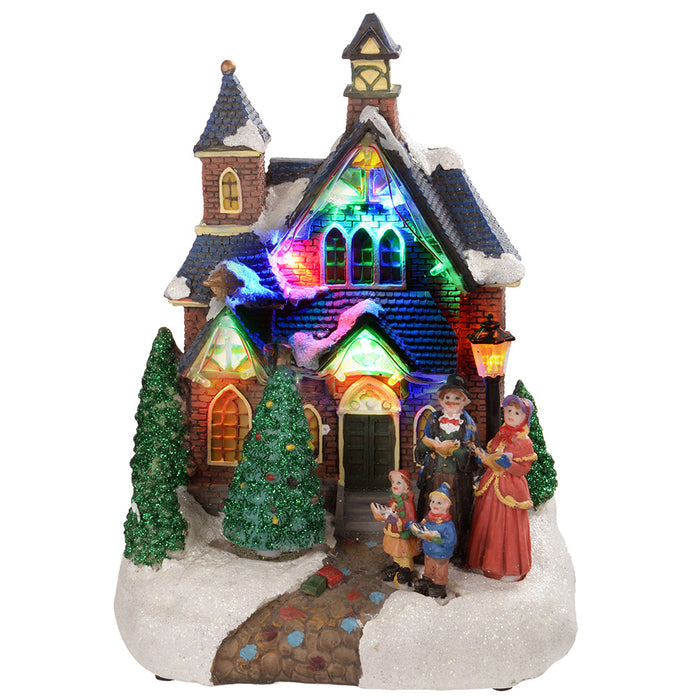 Christmas Carol Singers Ornaments.25 Cm Standing Scene With Carol Singers Colourful Led Lights Decoration