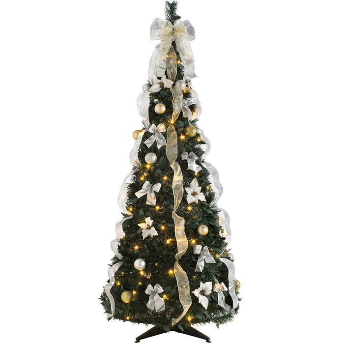 Pop Up Christmas Tree.Pre Decorated Holly Popup Christmas Tree 150 Warm White Led Champagne Silver 6 Feet 1 8 M