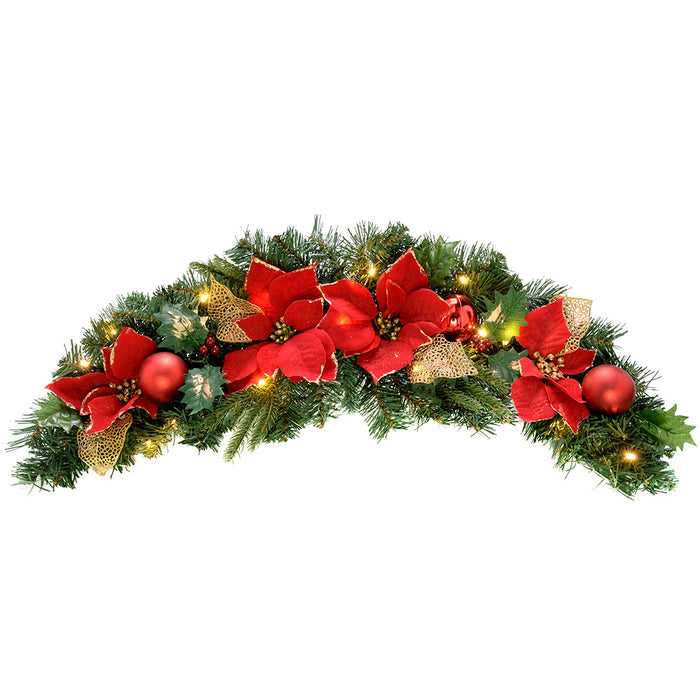 Pre-Lit Decorated Arch Garland Illuminated with 20 Warm White LED Lights, 90 cm - Red/Gold