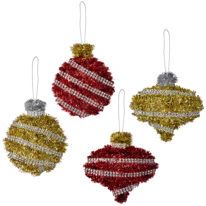 20 cm Baubles Tinsel Wall Plaque Christmas Decoration, Pack of 4