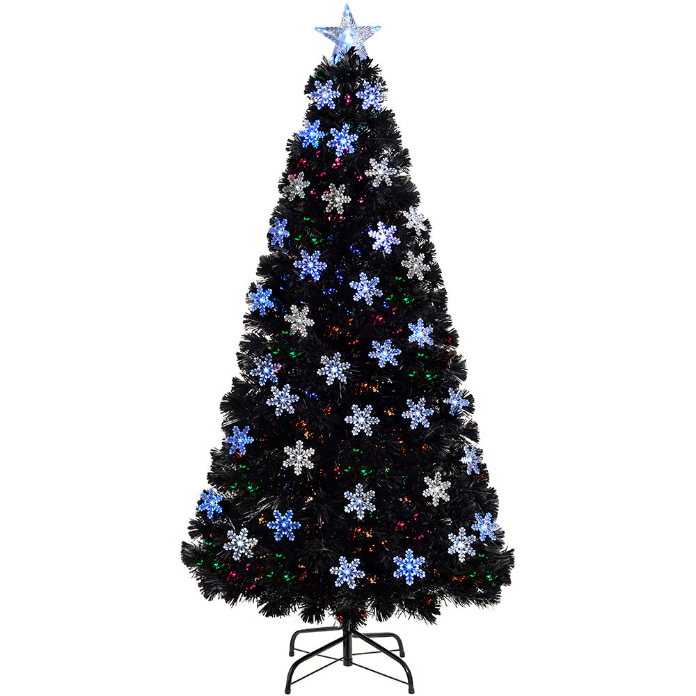 Pre-Lit Fibre Optic Black Christmas Tree with Tree Topper and Snowflakes