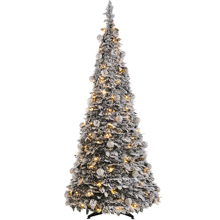 White Christmas Tree.Pre Decorated Popup Snow White Christmas Tree 150 Warm White Led 6 Feet 1 8 M