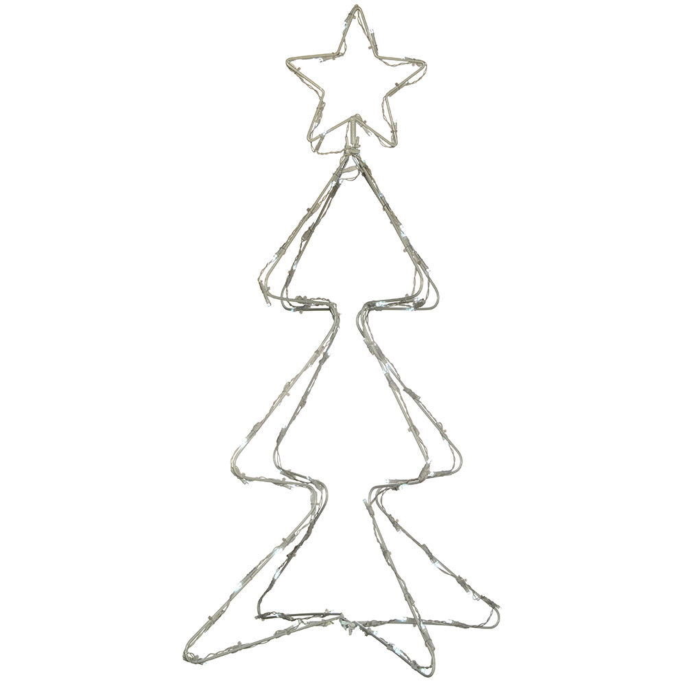 Pre-Lit Animated Multi Function Christmas Tree Silhouette, 80 cm - Bright White