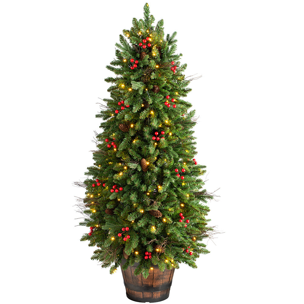 Pre-Lit Pine & Berry Potted Christmas Tree with 200 Warm White LED Lights 4.5 ft / 1.4 m