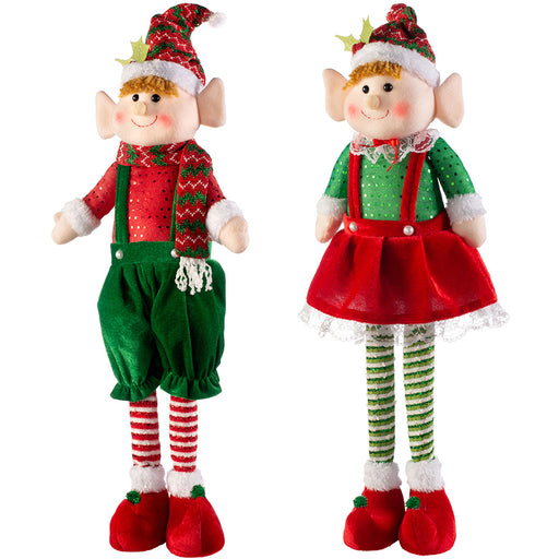 Set of 2 Standing Christmas Elf Decorations 61 cm