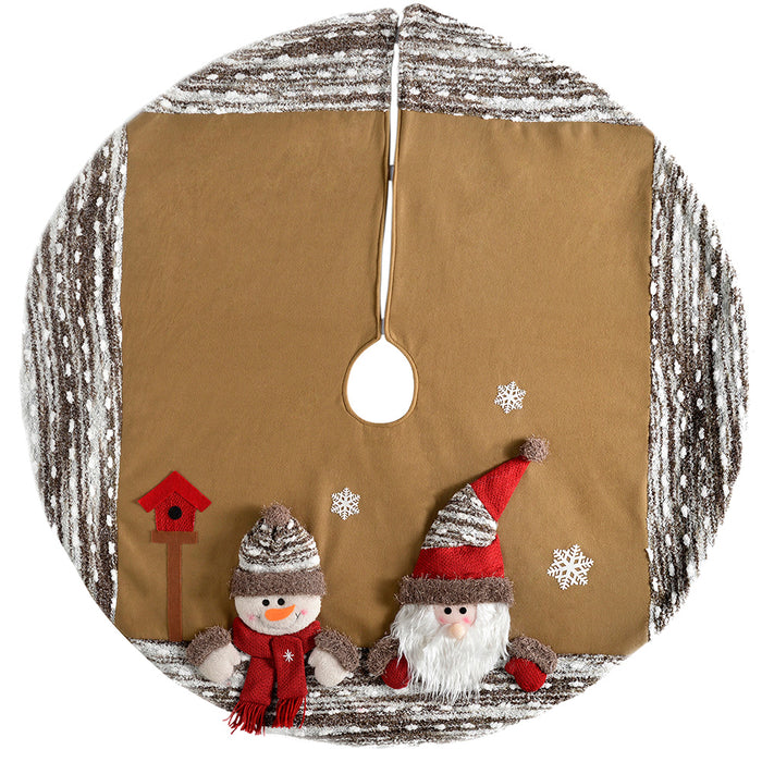 3D Santa and Snowman Christmas Tree Skirt Decoration, 122 cm - Brown/Multi-Colour