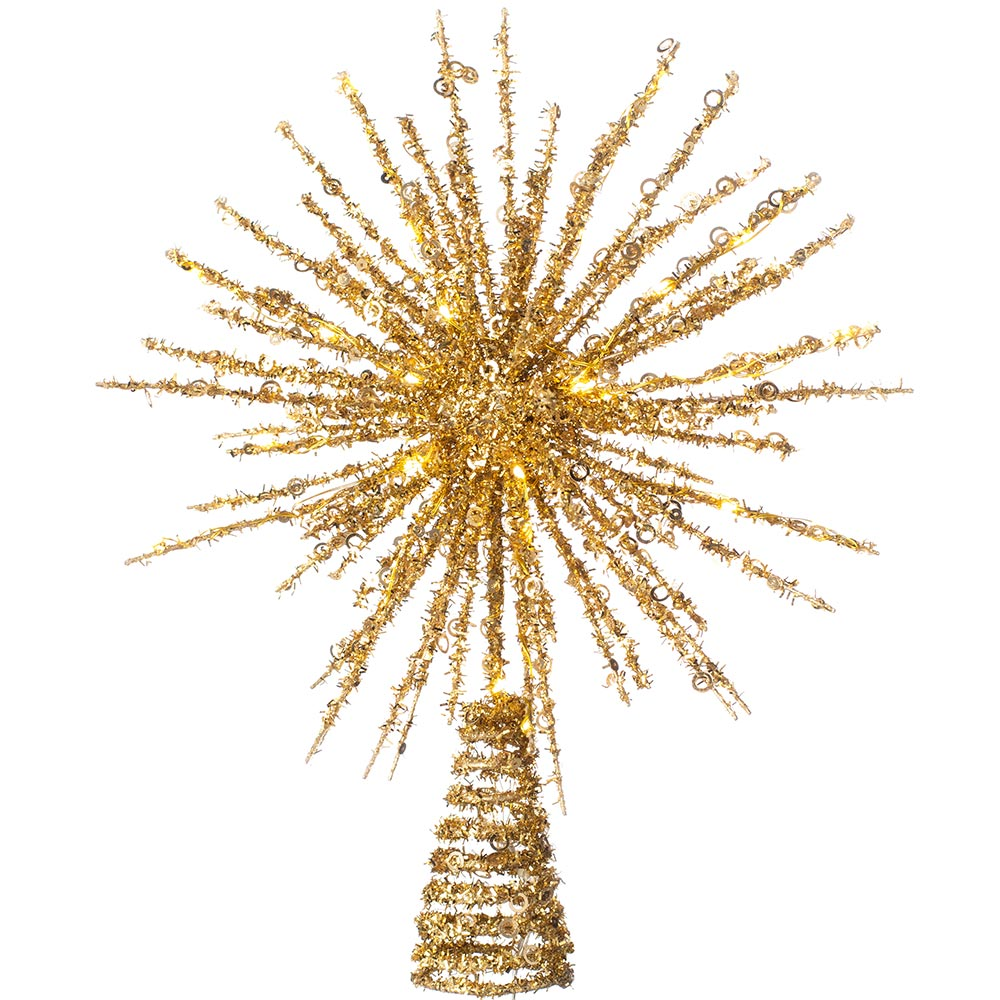 Starburst Christmas Tree Topper with 25 Warm White LEDs, 32 cm