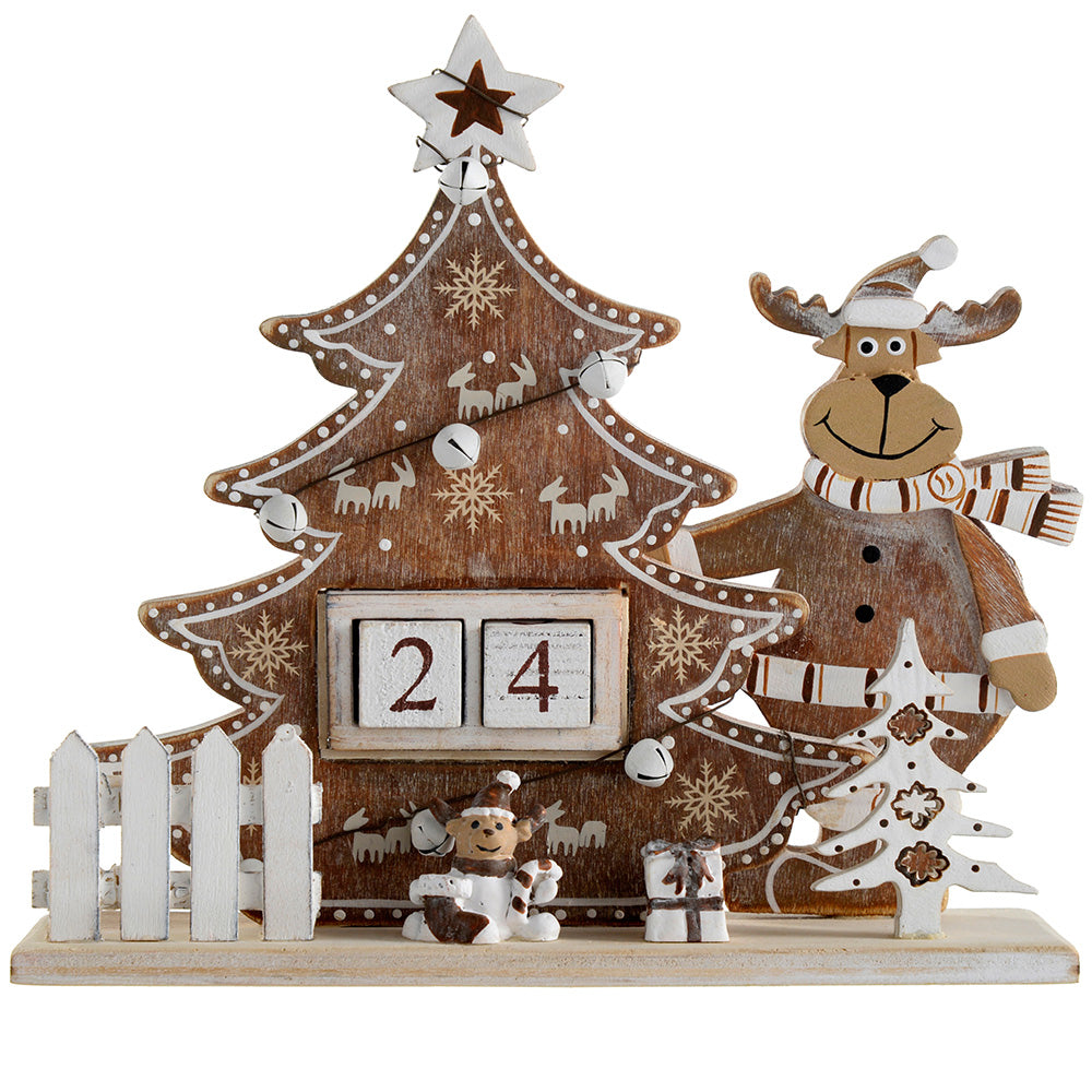 Wooden Tree and Reindeer Advent Calendar Christmas Decoration, Wood, 18 cm