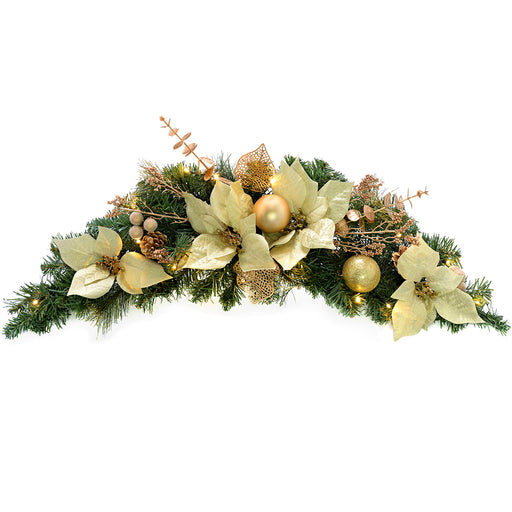 Pre-Lit Decorated Arch Garland Illuminated with 20 Warm White LED Lights, 90 cm - Cream/Gold