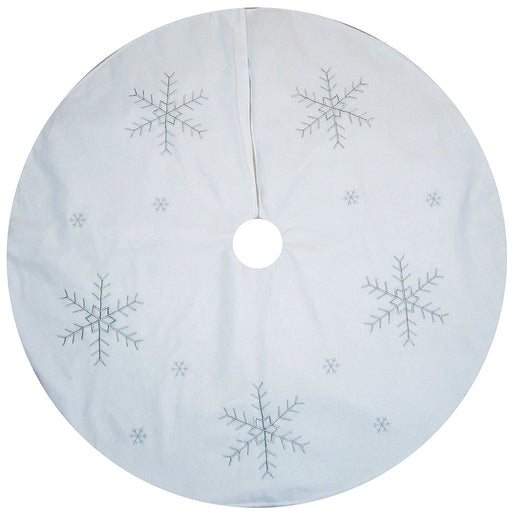 122 cm Large Christmas Tree Skirt Decoration with Silver Snowflake Design, White