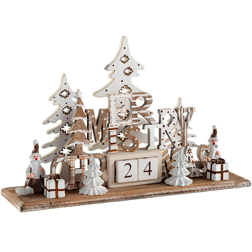 Wooden Christmas Scene Advent Calendar Decoration, Wood, 21 cm