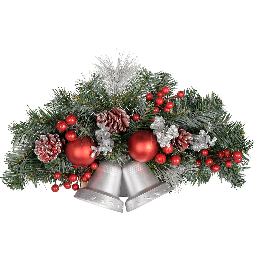 Frosted Decorated Twin Bell Wall Christmas Decoration, 30 cm