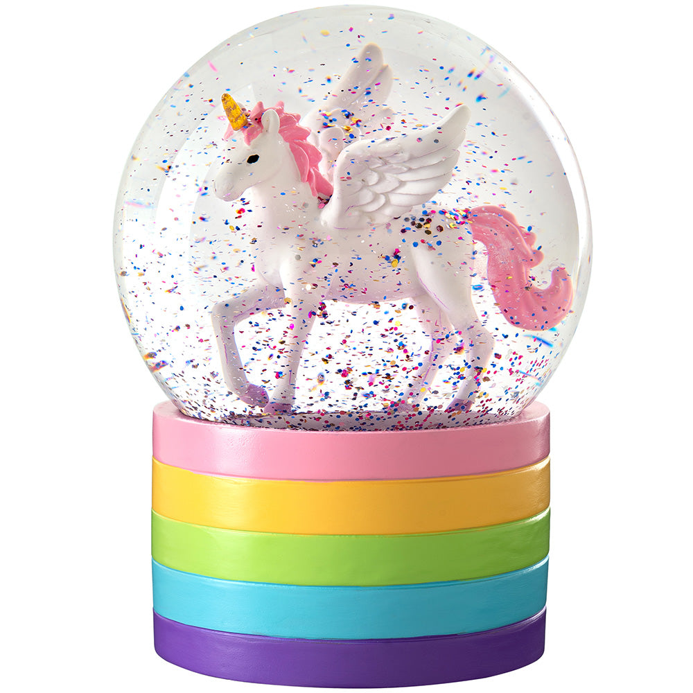 Unicorn Christmas Snowglobe Decoration 14 cm