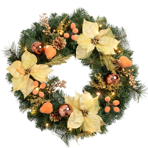 60cm Decorated Pre-Lit Wreath Illuminated with 20 Warm White LED Lights, Copper/ Gold