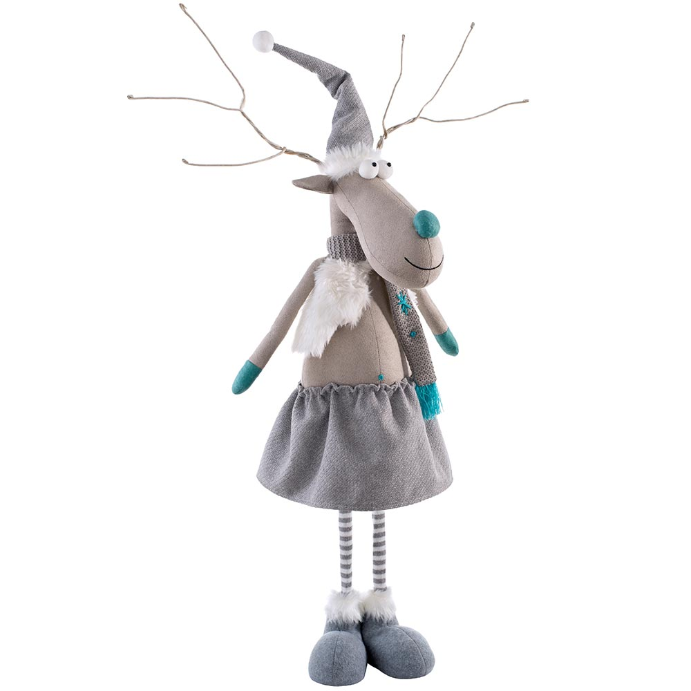 Standing Christmas Reindeer Figurine with Extendable Legs, Grey and Blue, 65-85 cm