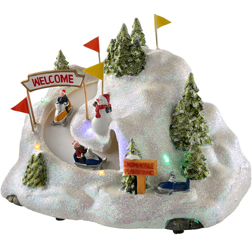 Animated Musical Skating Hill with Rotating Skiers, Multi-Colour, 25 cm