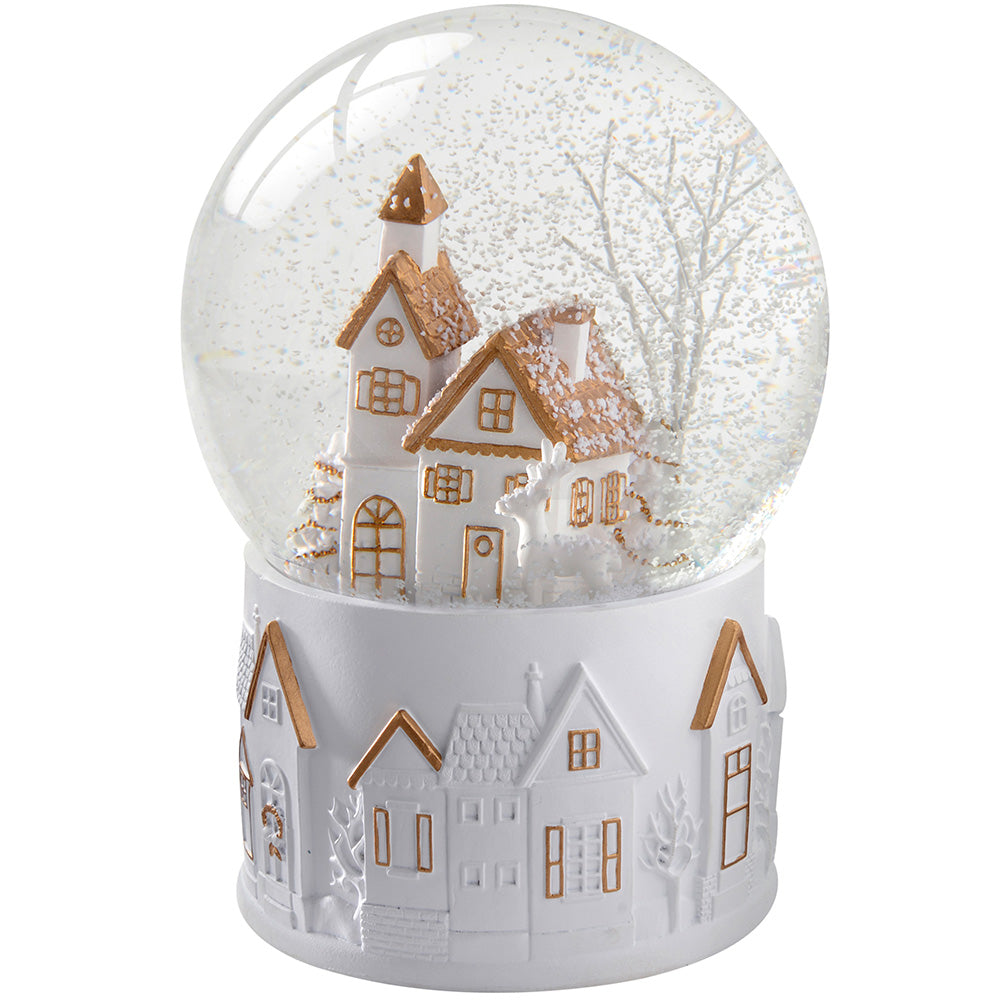 White and Gold House Snow Globe Christmas Decoration, 16 cm